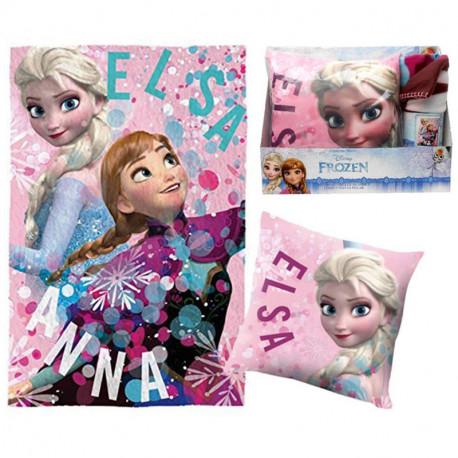 Set Plaid et Coussin La Reine des Neiges Disney