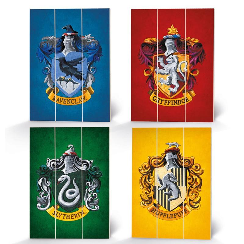 Panneau en Bois Harry Potter Maisons Poudlard sur Cec Design