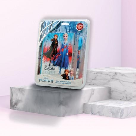 Set Papeterie La Reine des Neiges 2 - Carnet à Paillettes et Stylo